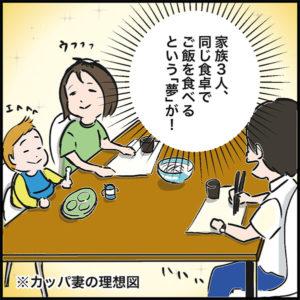 家族3人、同じ食卓でご飯を食べるという「夢」が!